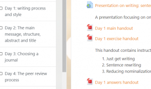 A screenshot of one of Cofactor's courses on Moodlecloud